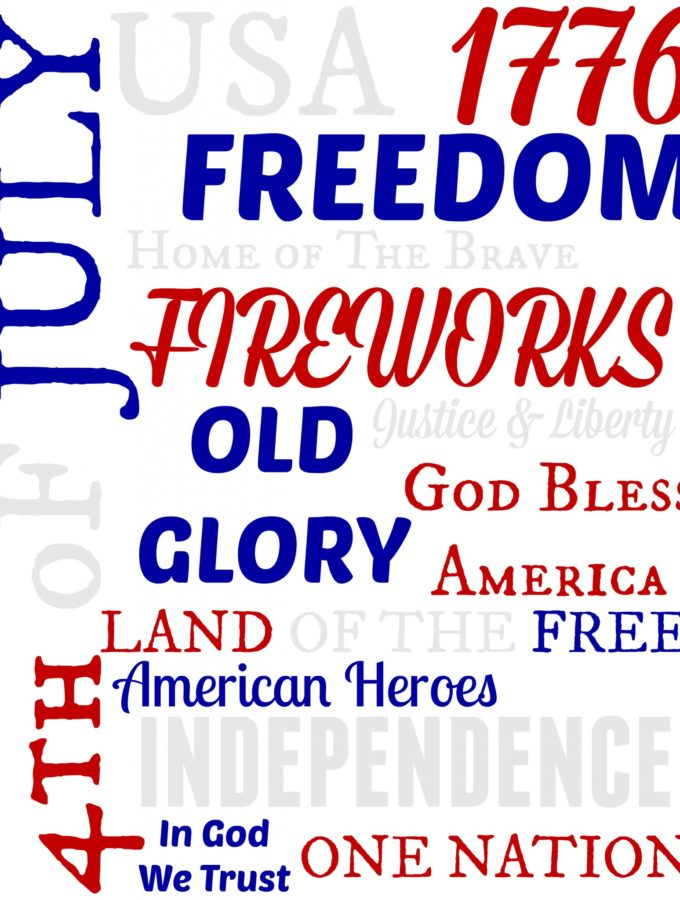 White 4th of July Subway Printable 8x10