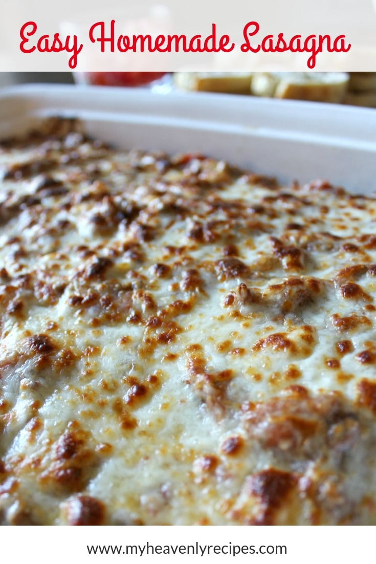 Homemade Lasagna Recipe is simply THE BEST! Super simple steps to follow and tips to make THE PERFECT LASAGNA recipe the first time and every time! #dinner #lasagna #recipes #myheavenlyrecipes