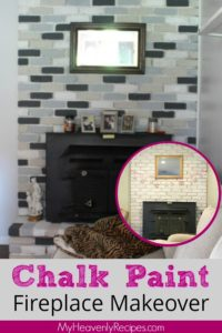 before and after image of fireplace painted with chalk paint