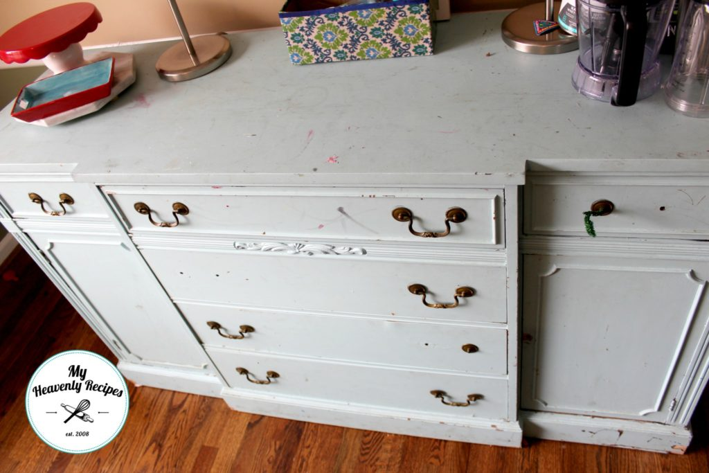 worn out, old sideboard buffet, painted white