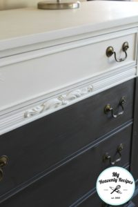 white and navy blue farmhouse sideboard buffet with drawers
