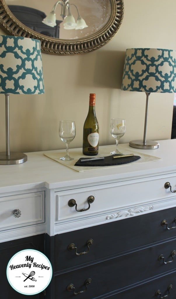 farmhouse sideboard buffet painted in white and navy blue