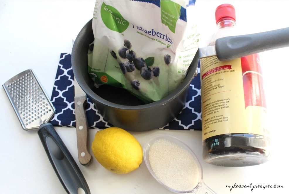 ingredients and kitchen tools needed to make blueberry compote