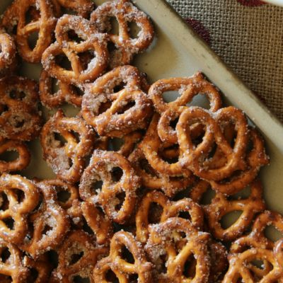 cinnamon sugar pretzels on a large baking pan