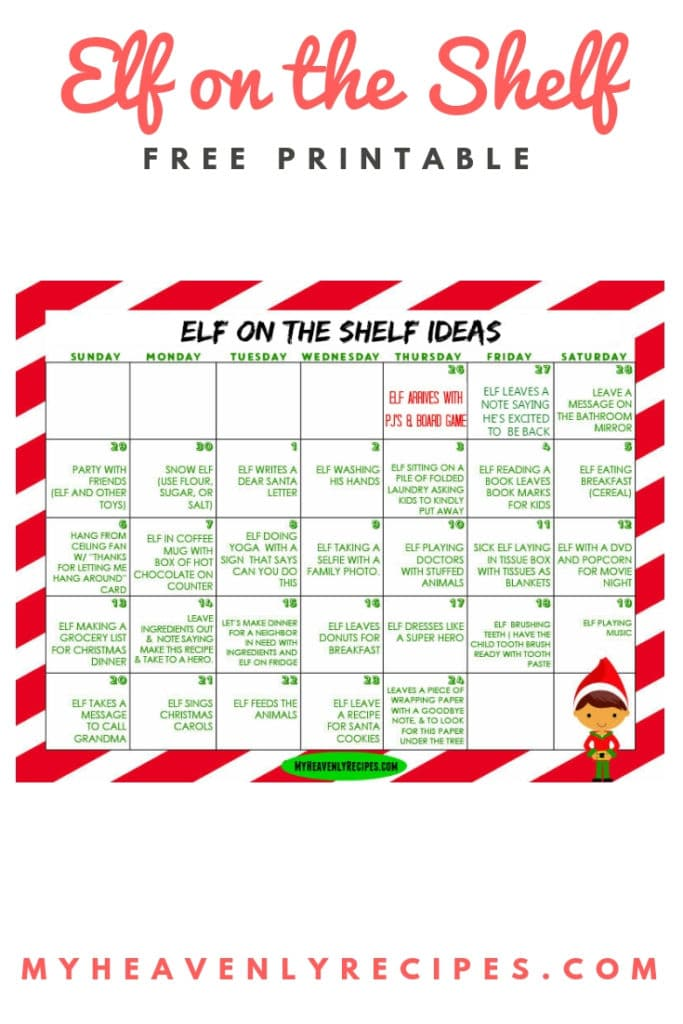 photograph relating to Printable Calendar Kids called Elf upon The Shelf Printable Calendar - My Heavenly Recipes