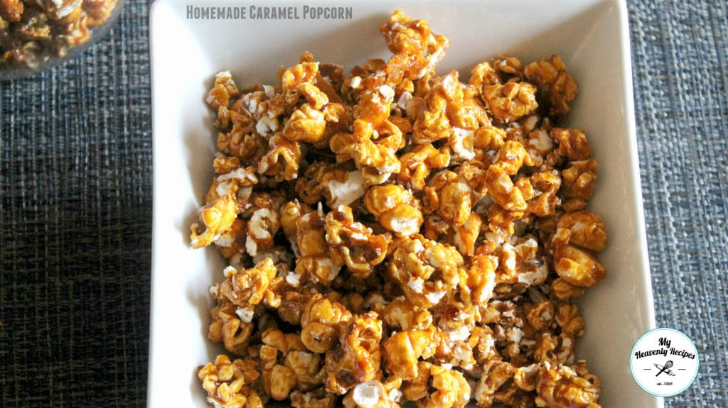 homemade caramel popcorn in a white bowl