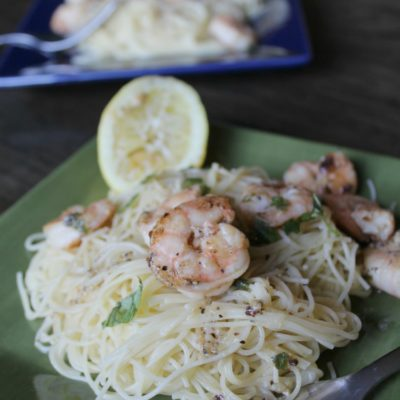 plate of lemon pasta with shrimp