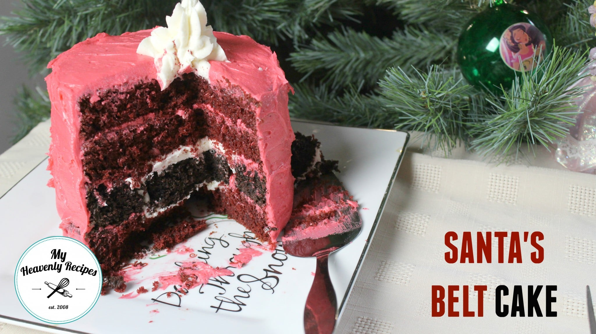 Easy Christmas Cake Santa S Belt Video My Heavenly