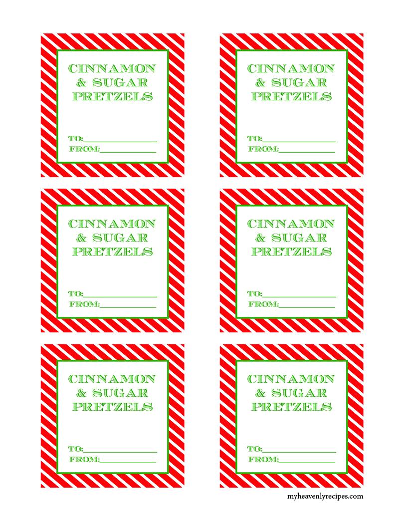 cinnamon sugar pretzels printable gift tags