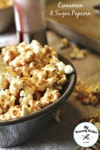 a bowl of cinnamon sugar popcorn