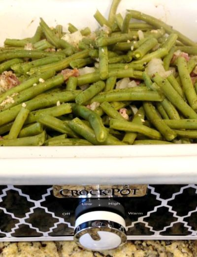 slow cooker green beans cooking in a Crock Pot