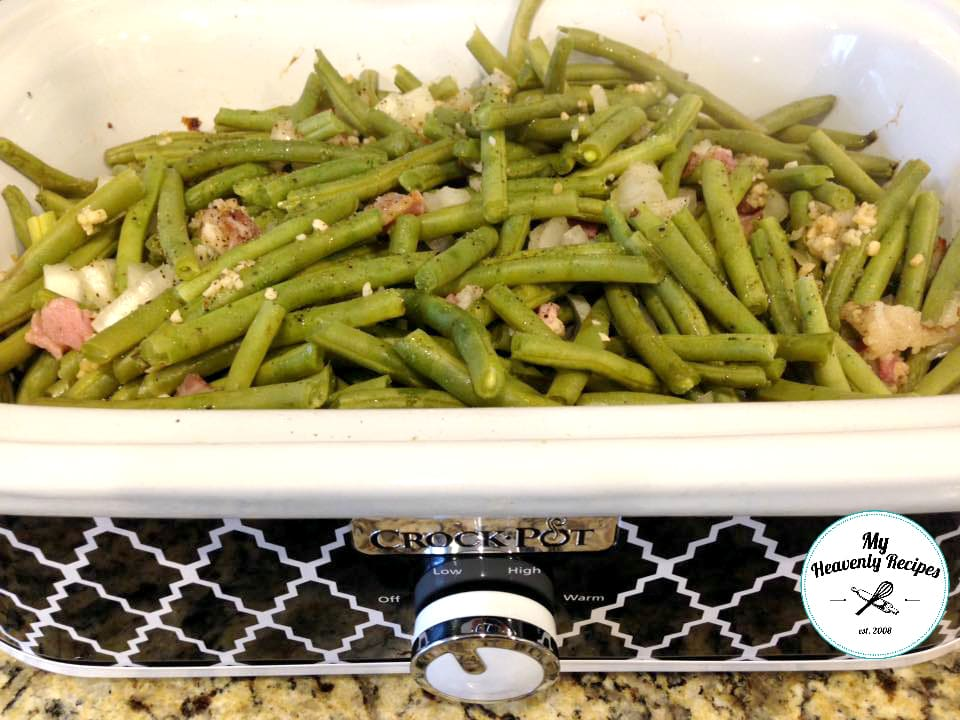 slow cooker green beans recipe being cooked in a Crock Pot