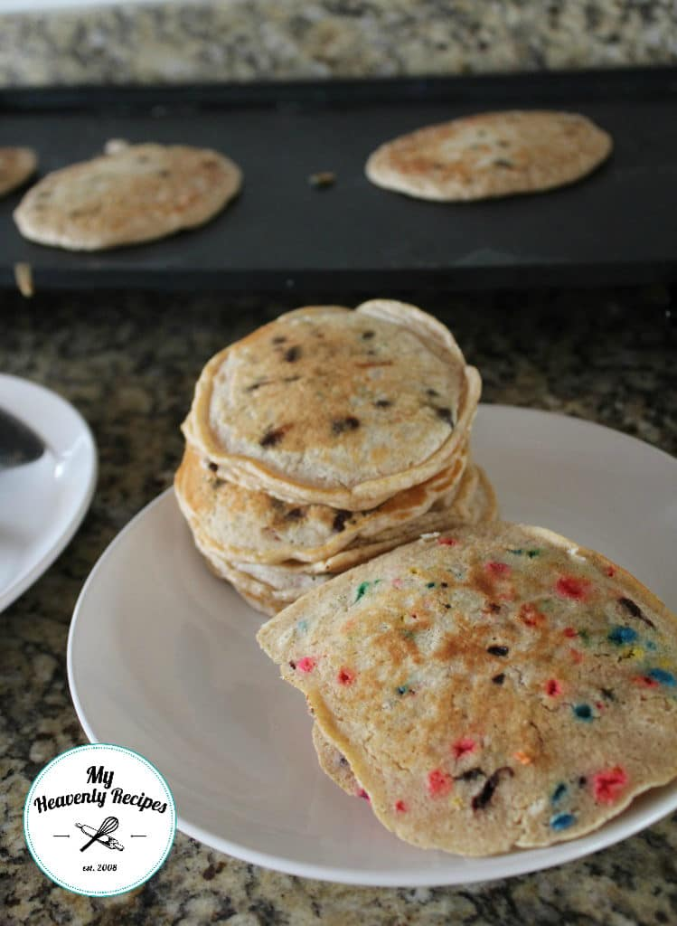 a plate of homemade funfetti pancakes