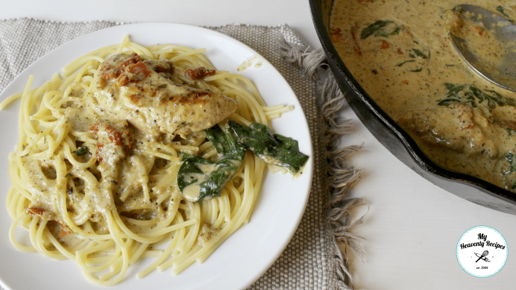 One Pot Creamy Chicken Tuscan Pasta plated