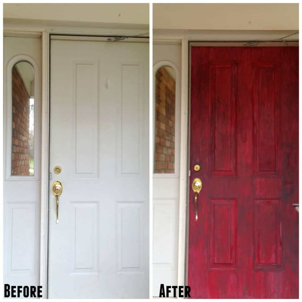 before and after photos of a chalk painted front door