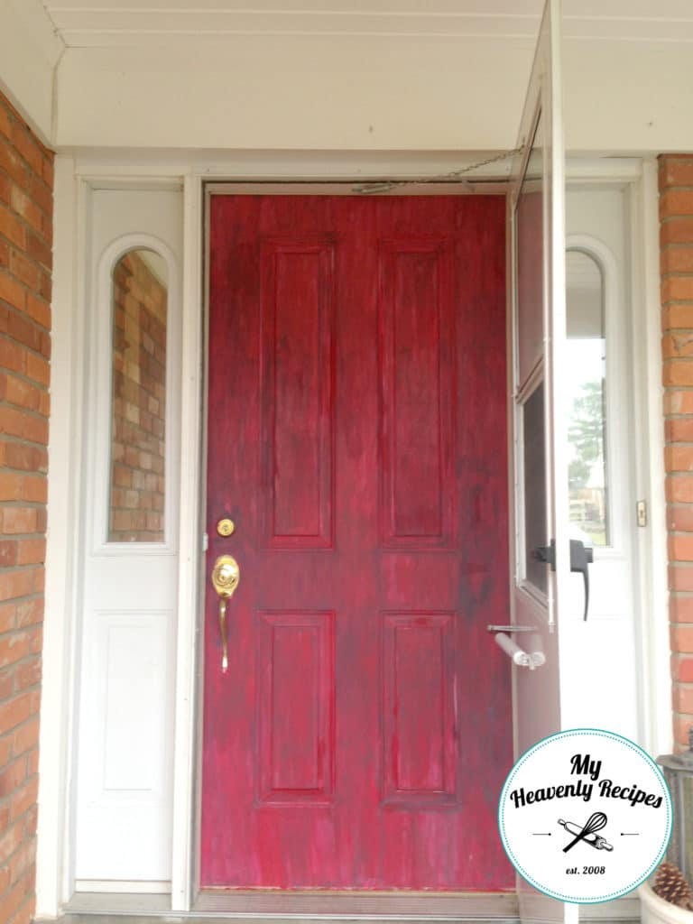 chalk painted front door with red chalk paint