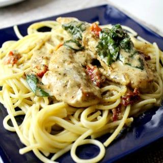 One Pot Creamy Chicken Tuscan Pasta + Video