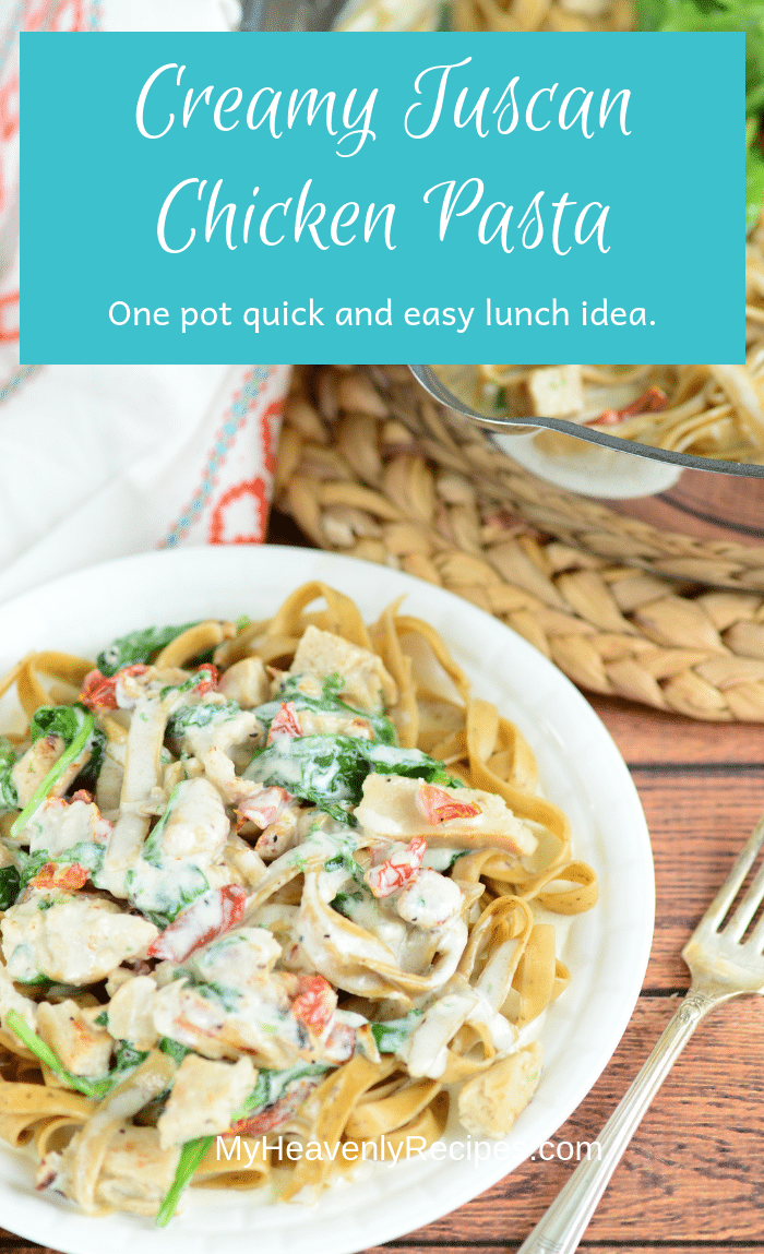 One pot is all you'll need to make Creamy Tuscan Chicken Pasta! This is a sure addition to your list of quick and easy recipes.