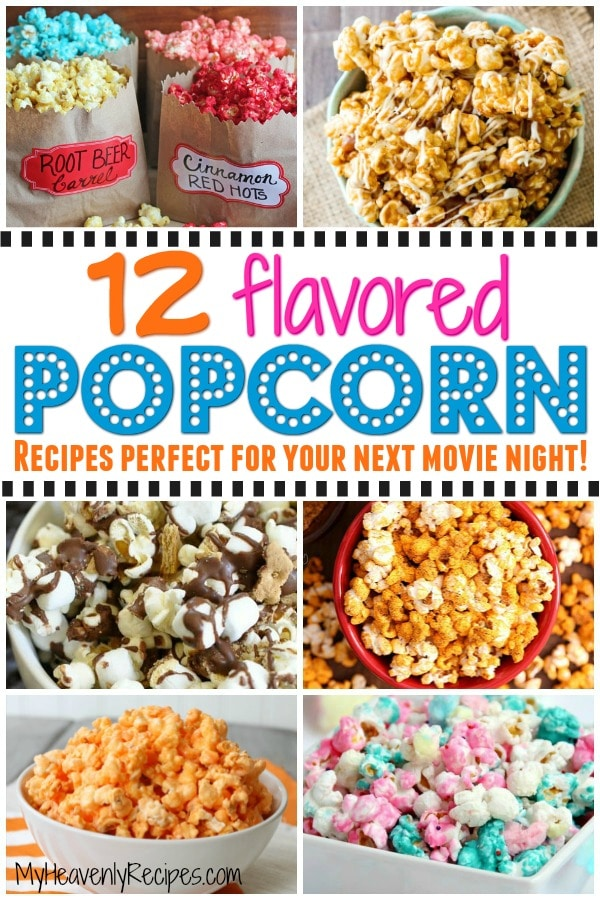 If you love popcorn and you love movies, you're going to love these 12 flavored popcorn recipes perfect for your next movie night! From caramel popcorn to cotton candy popcorn to Oreos popcorn, you're sure to find your next favorite popcorn recipe on this list. #popcorn #popcornrecipes #snacks