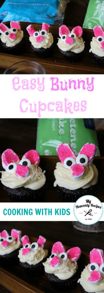 titled photo collage of Easter bunny cupcakes