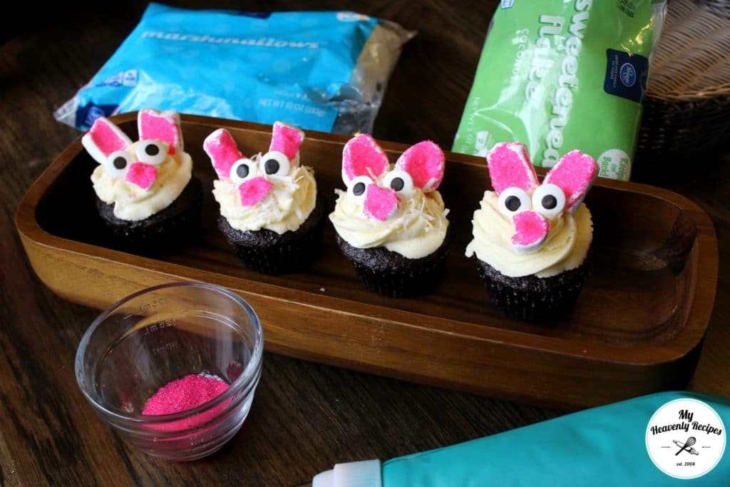 Easy Bunny Cupcakes with Ingredients