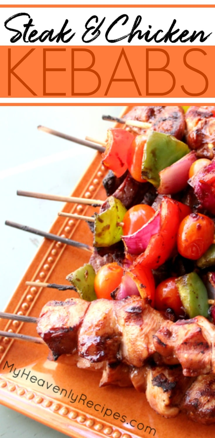Crazy good steak & chicken kabobs. Marinated with a store bought sauce, skewered with veggies and serve along side rice makes this a quick & easy dinner cooked on the grill! These Steak and Chicken Kabobs are also a perfect dinner recipe for entertaining guests as this recipe is made ahead of time, then cooked on the grill for your guests in just minutes. #dinner #steak #chicken #kabob #grill #recipe