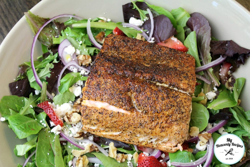 bowl of blackened salmon salad