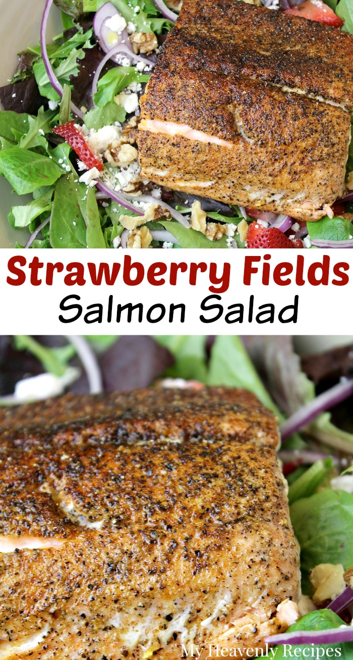 If you're tired of eating boring salads, you need to make this Strawberry Fields salmon salad recipe! Watch our recipe video to see how easy it is to make! #healthy #recipe #salmon #video