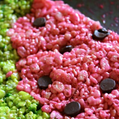 watermelon rice krispies treats overhead shot