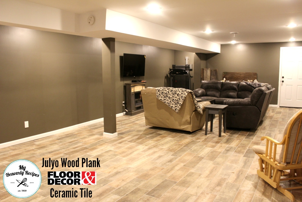 finished basement with julyo tile from floor and decor and dark walls
