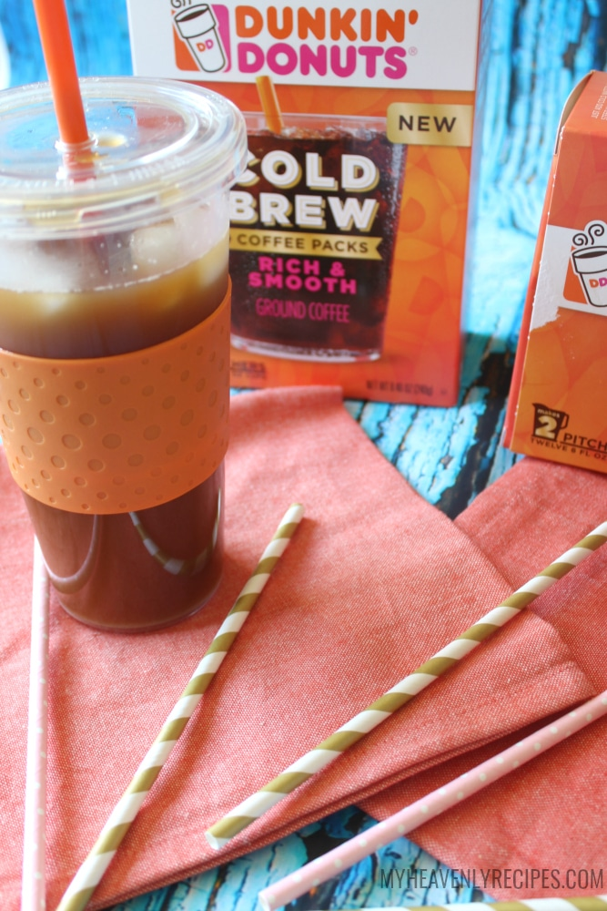 Dunkin Donuts Cold Brew Coffee in a tall plastic tumbler cup
