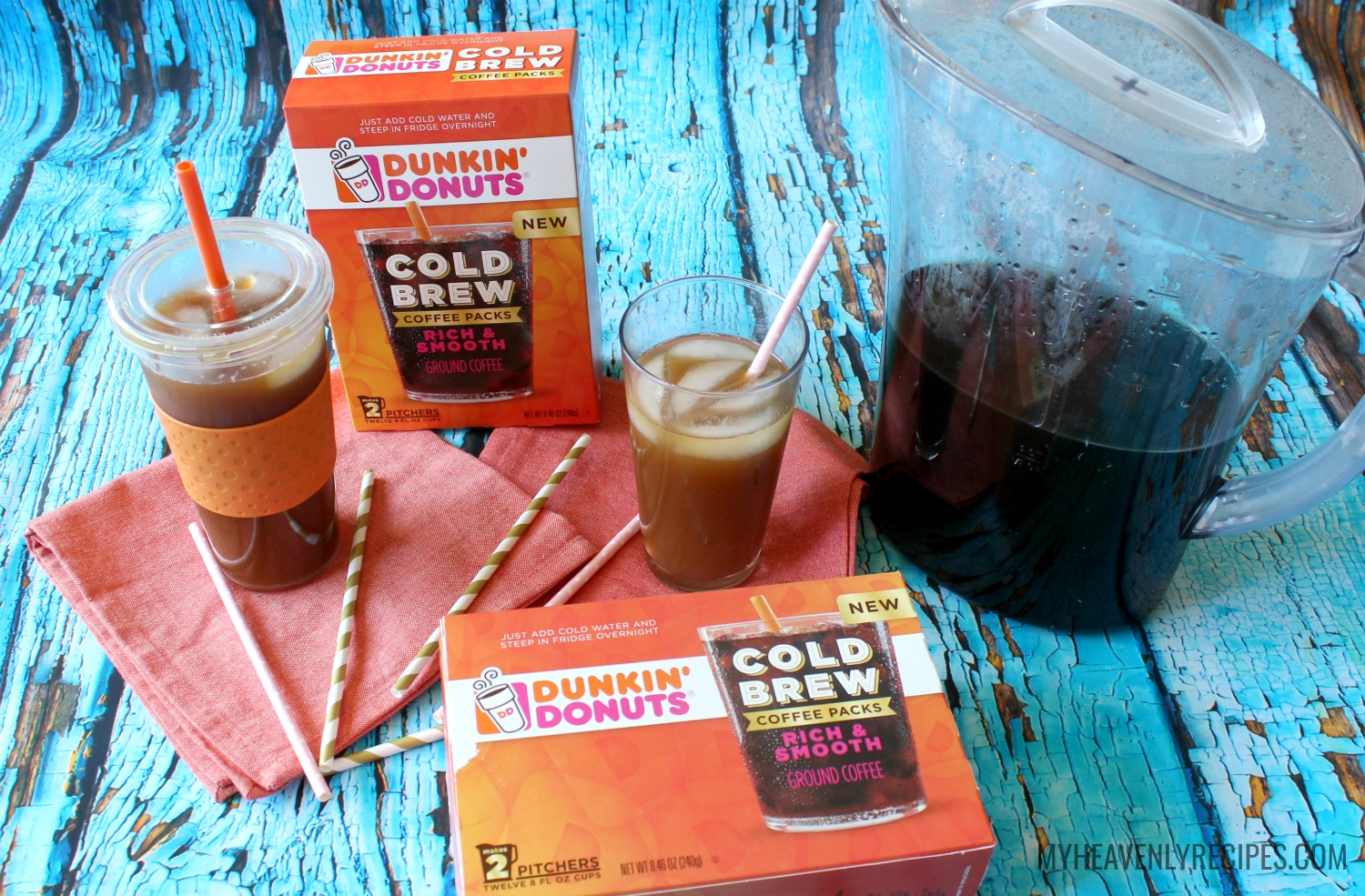 a pitcher and glasses of Dunkin Donuts brand homemade Cold Brew Coffee