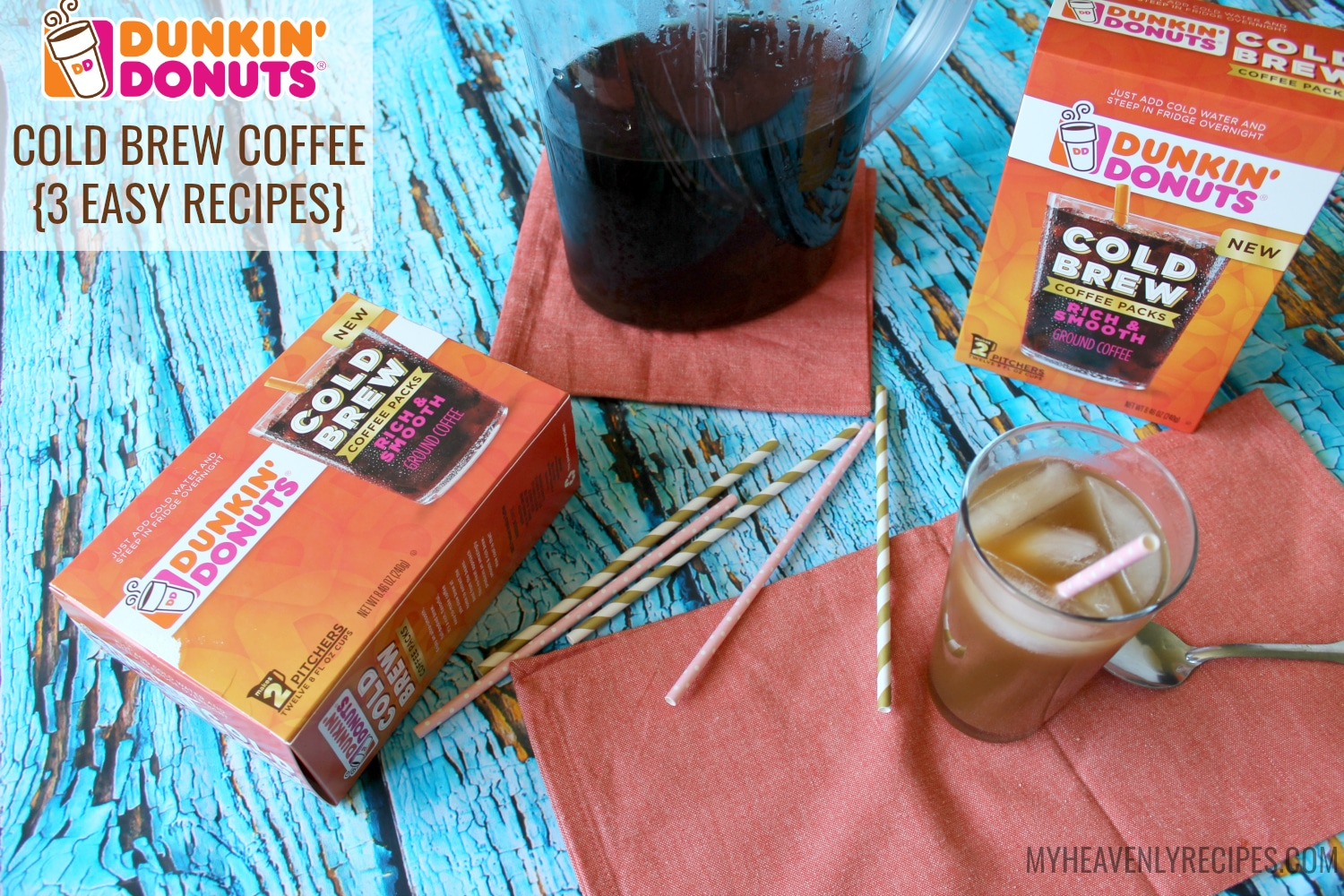 You can now enjoy the smooth taste of Cold Brew Coffee with Dunkin Donuts Cold Brew Coffee packs.