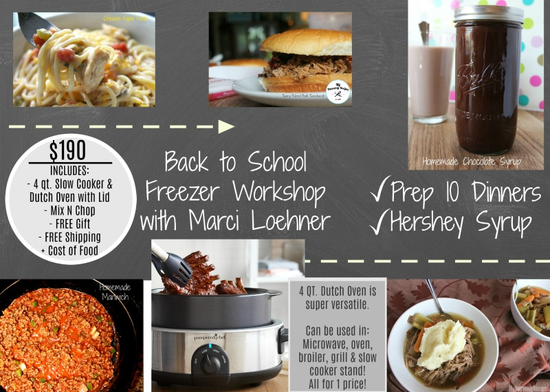 Make Back to School easier with a Freezer Meal Workshop. Take home 10 recipes perfect for busy nights. Simply pop the freezer meal into the Slow Cooker from Pampered Chef and you'll have dinner on the table in just minutes when everyone comes home to eat!
