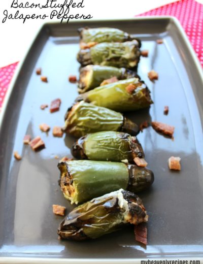 Bacon Stuffed Jalapeno Peppers cooked on a serving platter