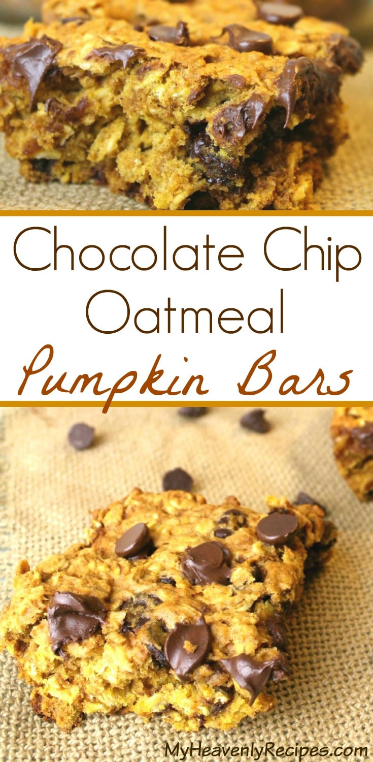 This super simple pumpkin bars recipe is perfect for a after school snack, dessert or to nibble on throughout the day. It's loaded with oatmeal and chocolate chips so that the kids will enjoy them as much as the adults do! #pumpkin #recipe #snack