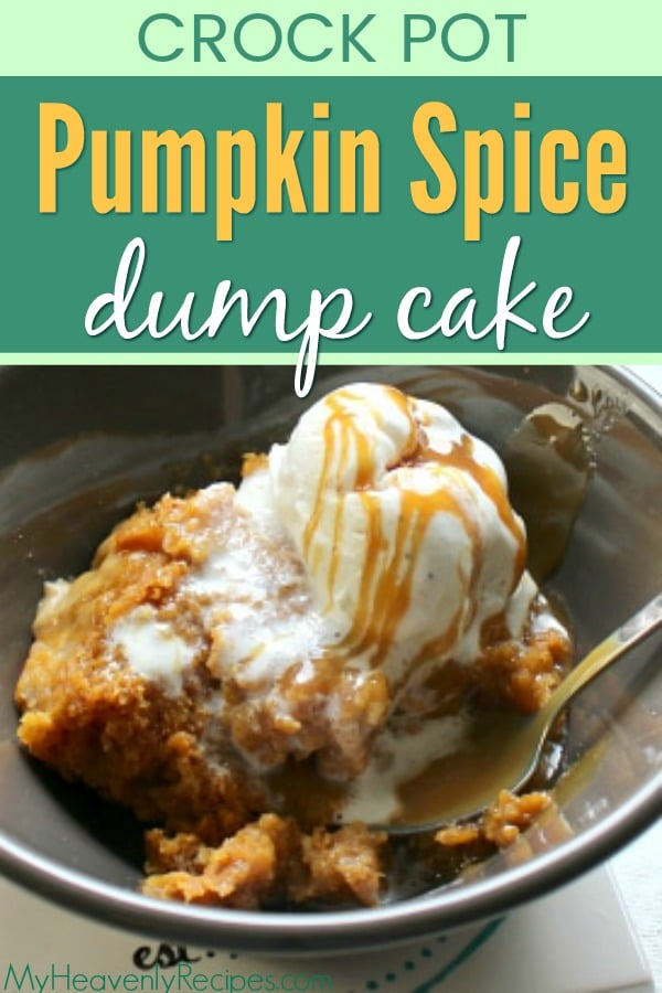 pumpkin spice dump cake in bowl topped with ice cream and caramel sauce