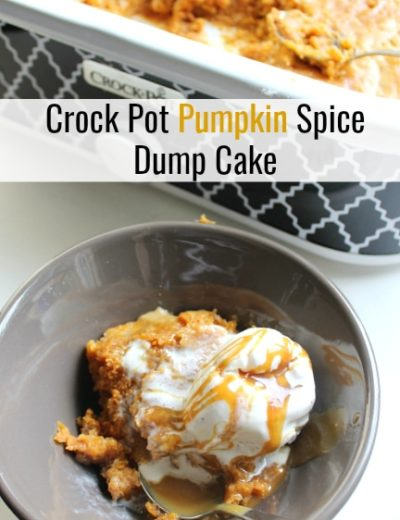 Your home will be left smelling delicious as you are cooking your Pumpkin Spice Dump Cake in the Crock Pot. It's a perfect fall dessert recipe to feed a crowd!