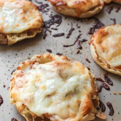 english muffin pizzas out of the oven with melted cheese