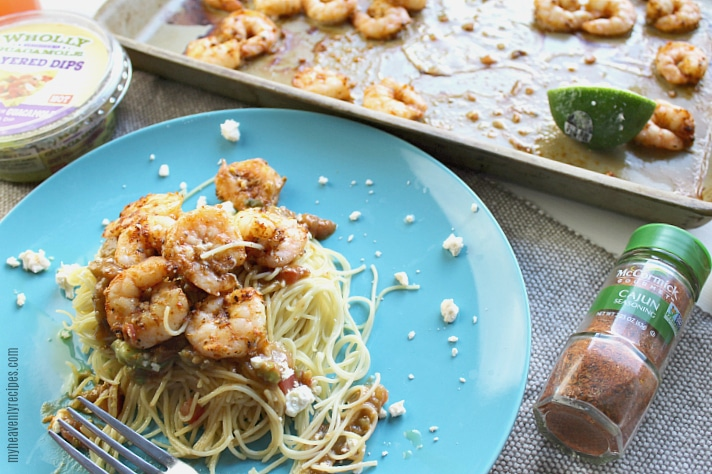 This Spicy Shrimp Pasta recipe is on the table in under 20 minutes with just a handful of ingredients.