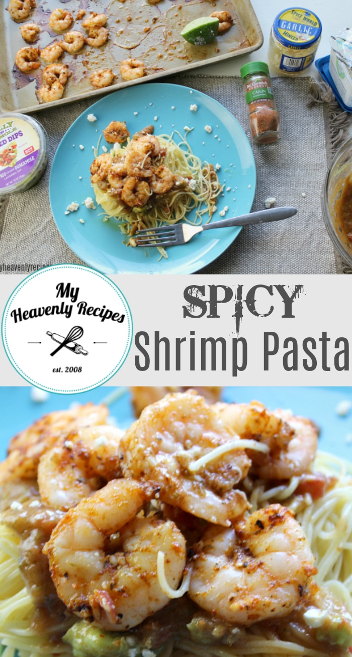 If you love shrimp, pasta and guacamole you'll want to check out this Spicy Shrimp Pasta recipe for dinner tonight!