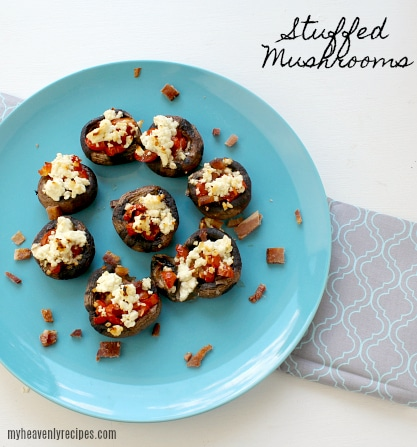 Stuffed Mushrooms look amazingly delicious when they are plated on sometime blue! Keep that in mind when you are entertaining!