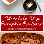 Craving Pumpkin and Chocolate? These Chocolate Chip Pumpkin Pie Bars are a perfect treat for fall!