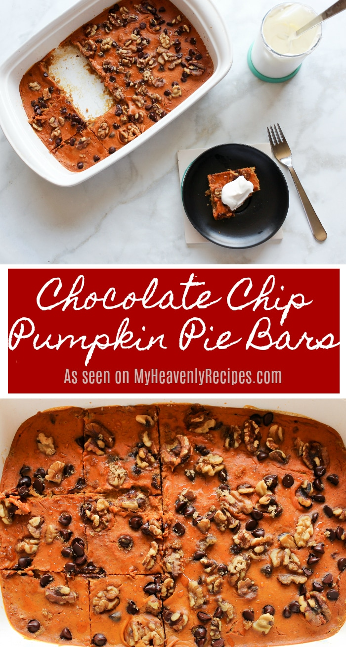 Gather your friends and family. They won't want to miss these Chocolate Chip Pumpkin Pie Bars for dessert! #pumpkin #fall #dessert