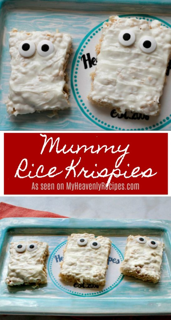 Mummy Rice Krispies are a quick & easy snack or dessert recipe that kids will love at their Halloween Party!