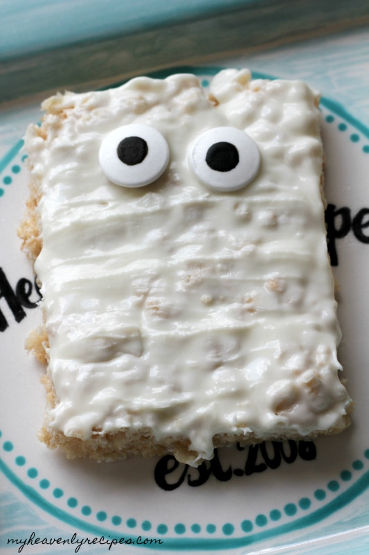 Mummy Rice Krispies treats are perfect for Halloween parties.