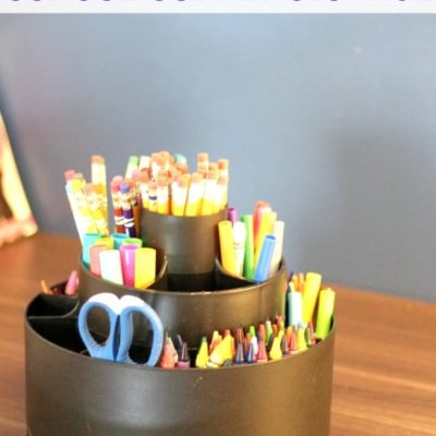 Check out this School Supply Storage solution. It's so easy even the kids can do it!