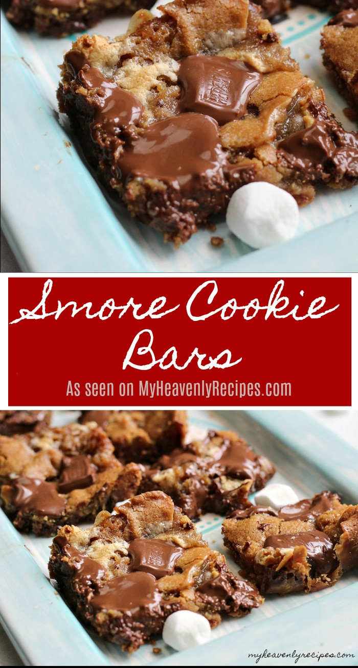 Soft, warm from the oven and of course chocolatey, these Smore Cookie Bars are a perfect slumber party treat or dessert!