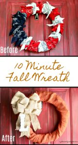 Take your summer wreath into a beautiful Fall Burlap Wreath in just 10 minutes.