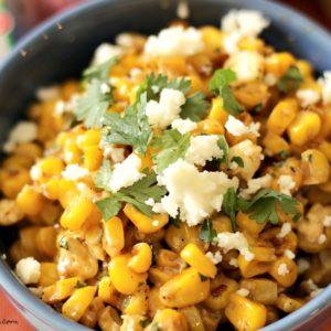 close up chipotle corn recipe in blue bowl